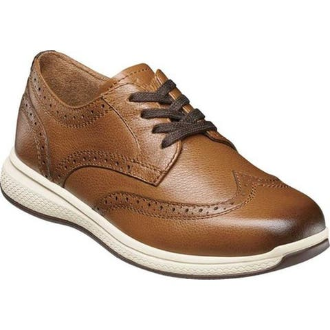 Florsheim Boys' Great Lakes Wingtip Lace Up Oxford Cognac Leather