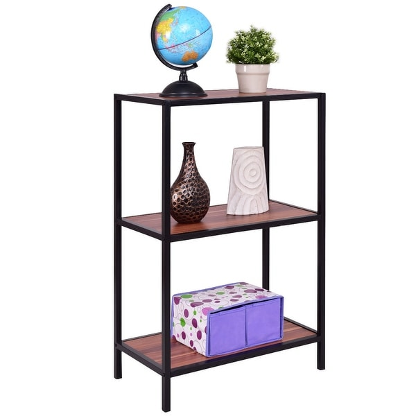 Costway 3 Tier Storage Shelf Bookcase Bookshelf Display Organizer Rack Metal Frame - as pic