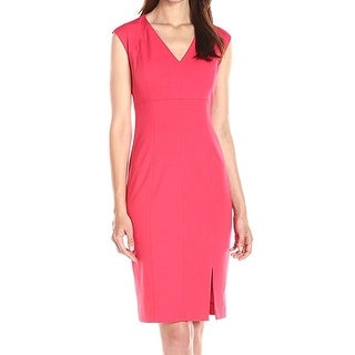 T Tahari NEW Pink Women's Size 12 V-Neck Front-Slit Sheath Dress
