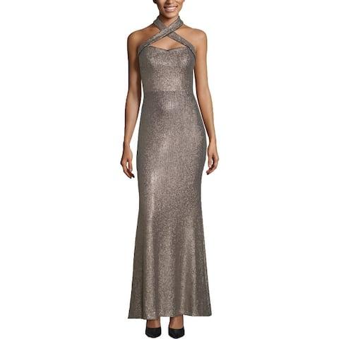 Xscape Womens Evening Dress Sequined Halter - Gold/Navy
