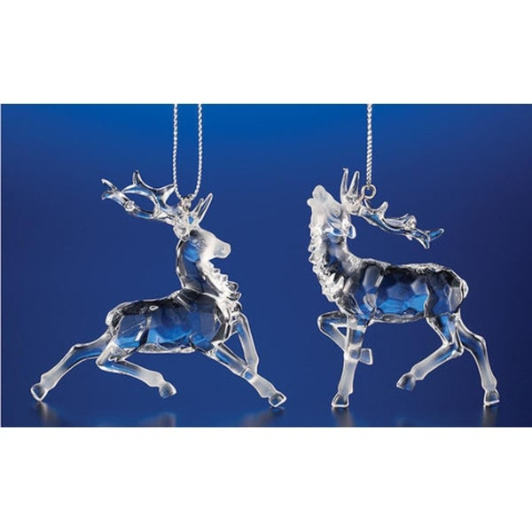 Club Pack of 48 Icy Crystal Decorative Christmas Reindeer Ornaments 2.8""