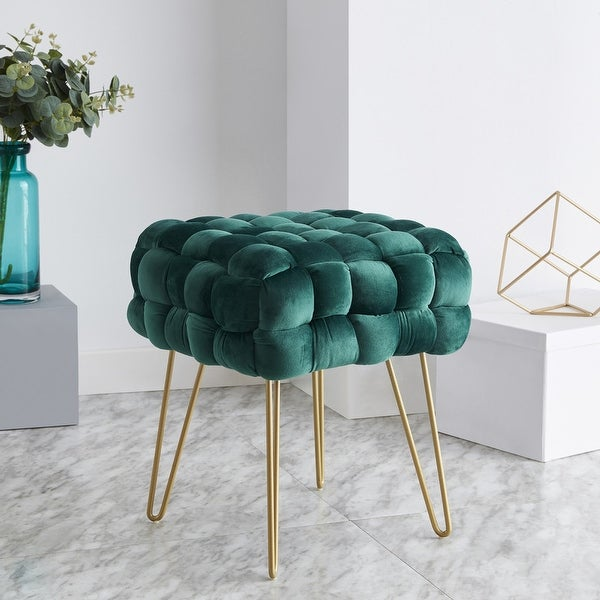 Mirage Modern Contemporary Square Woven Upholstered Velvet Ottoman with Gold Metal Legs. Opens flyout.