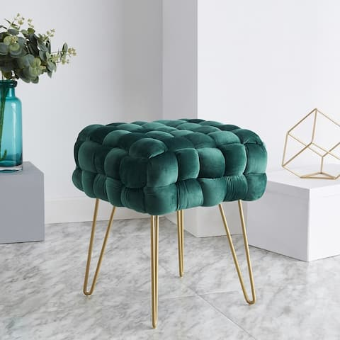 Mirage Modern Contemporary Square Woven Upholstered Velvet Ottoman with Gold Metal Legs