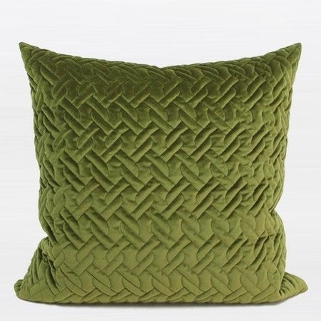 """G Home Collection Luxury Green Braid Textured Quilting Pillow 24""""X24"""""""