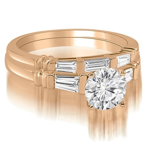 1.25 cttw. 14K Rose Gold Round And Baguette Cut Three Stone Diamond Bridal Sett,HI,SI1-2