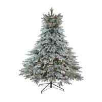 """6.5' x 61"""" Pre-Lit Flocked Jasper Balsam Fir Artificial Christmas Tree - Clear Lights - green"""