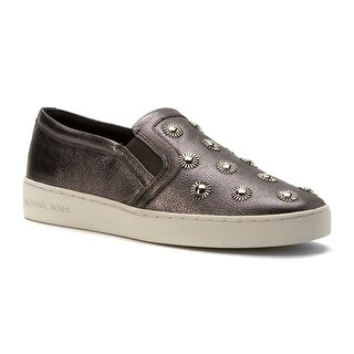 MICHAEL Michael Kors Womens Leo Leather Low Top Slip On Fashion Sneakers