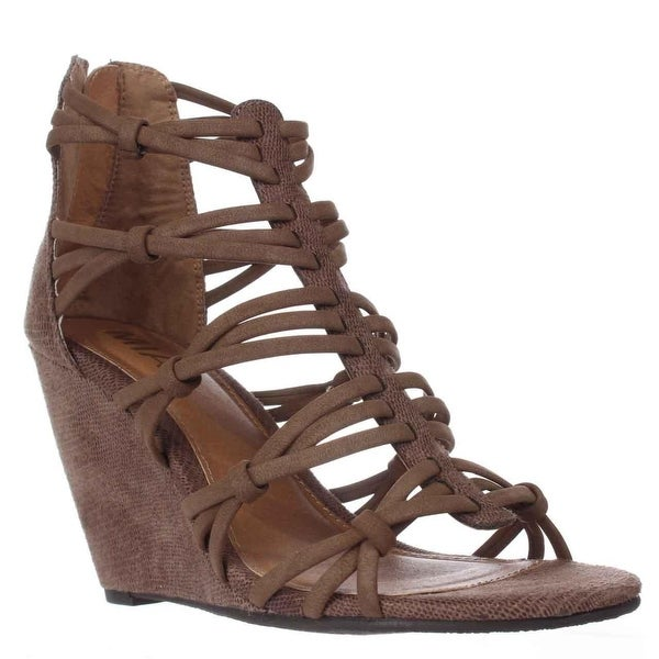 MIA Womens Dylon Open Toe Casual Strappy Sandals, Taupe/Vintage Lizard, Size 9.0