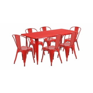"""Offex 31.5"""" x 63"""" Rectangular Red Metal Indoor Table Set with 6 Stack Chairs [OF-ET-CT005-6-30-RED-GG]"""