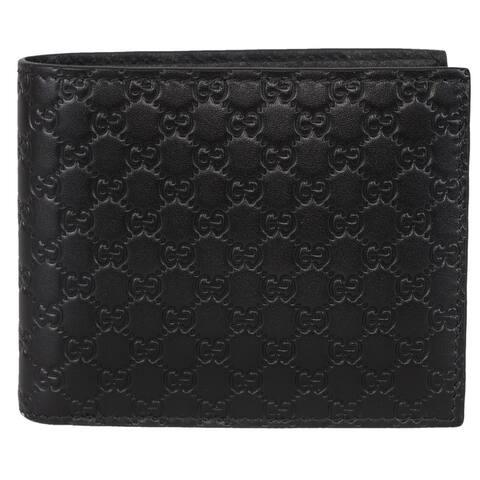 Gucci Men's 260987 Black Leather MICRO GG Guccissima Bifold Wallet