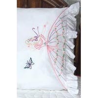 """Butterfly Lady - Stamped Ruffled Edge Pillowcases 30""""X20"""" 2/Pkg"""