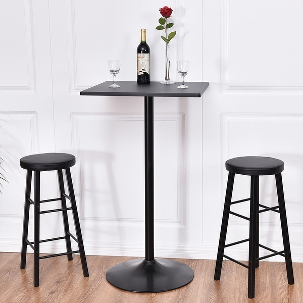 Black Bar Set: Shop Costway 3pc Pub Table Top Set Bars Square Legs Stool
