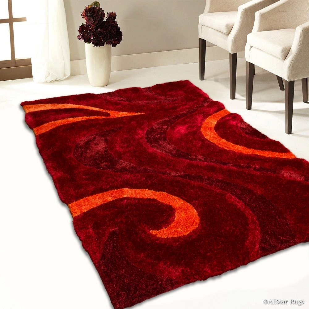 Allstar Rugs Burgundy Shaggy Area Rug With 3d Red Circle Design Contemporary Formal Hand Tufted 7 6 X 10 5 Overstock 11454707