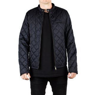 Prada Men's Quilted Nylon Viscose Windbreaker Jacket Navy Blue