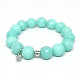 Aqua Quartz 'Classic Stone' stretch bracelet Sterling Silver