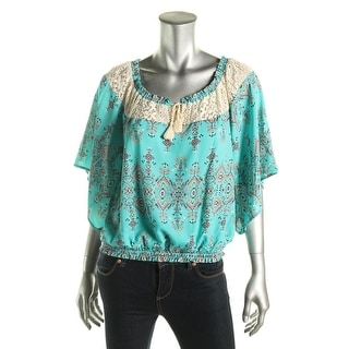 Eye Shadow Womens Juniors Peasant Top Crochet Trim Printed