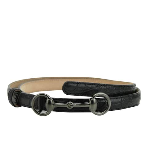 a2811ac32d3 Gucci Women s Horsebit Buckle Black Leather Thin Skinny Belt 282349 1000 -  95   38