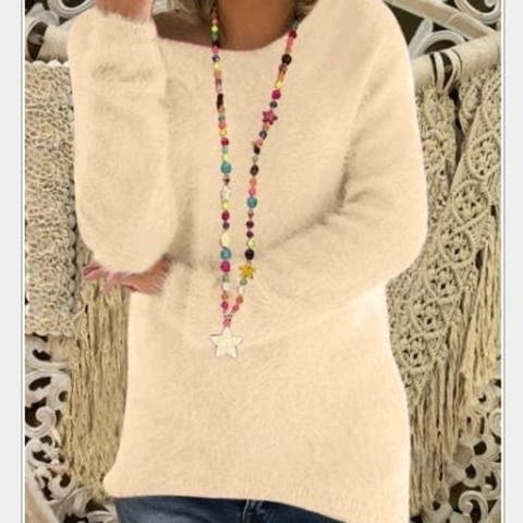 New Women's Fashion Autumn And Winter Long Sleeve Knitted Sweaters Solid Color Warm Pullover Tops