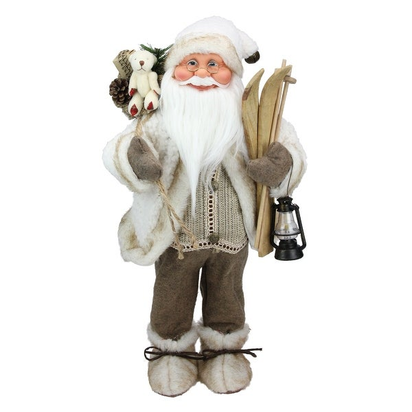 """18"""" Alpine Chic Beige and White Skiing Santa with Gift Bag and Lantern Decorative Christmas Figure"""