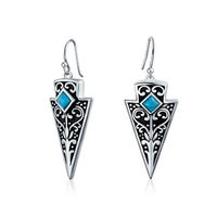 4066afce7 American Indian Style Blue Bead Arrowhead Boho Dangle Earrings For Women  For Teen Oxidized 925 Sterling