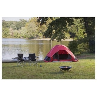 """""""Campsite by lake"""" Poster Print"""