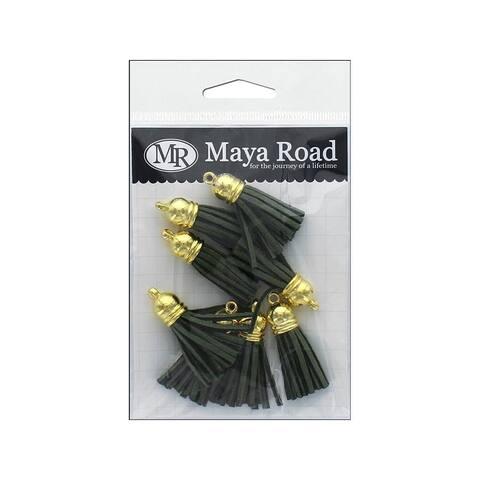 Tas3330 maya road vintage tassels gold cap pine green