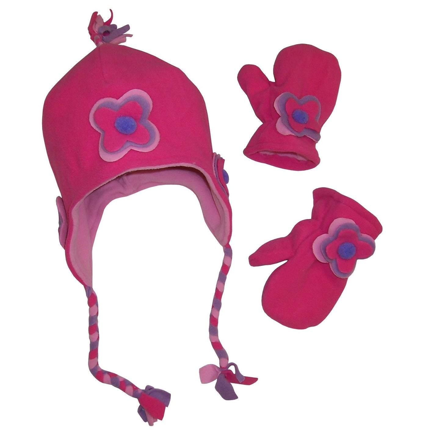 Infant /& Toddler Girls Pink Fleece Fox Trapper Hat /& Mittens Beanie Set