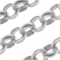 Antiqued Silver Plated Large Round Rolo Chain 7.3mm Bulk By The Foot