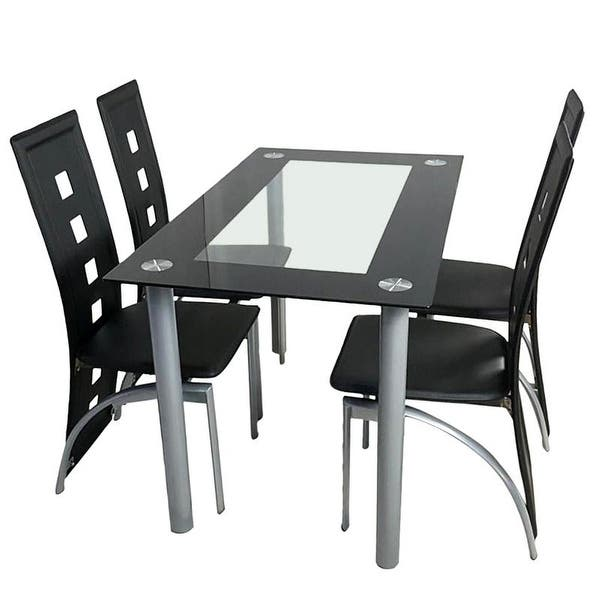 Porch Den Matthew Faux Leather Chair And Glass Table 5 Piece Dining Set Overstock 29071792