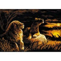 """Lions In The Savannah Counted Cross Stitch Kit-15.75""""X11.75"""" 14 Count"""