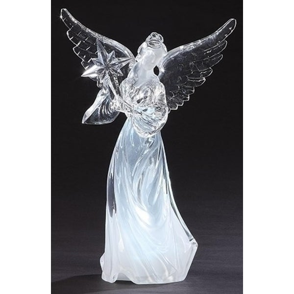 Pack of 2 LED Lighted Angel with Bethlehem Star Christmas Table Top Figure 10.5""