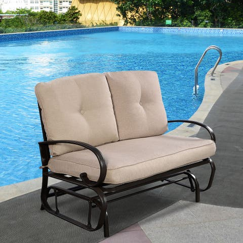 Outdoor Patio Rocking Glider Cushioned 2 Seats Steel Frame Furniture