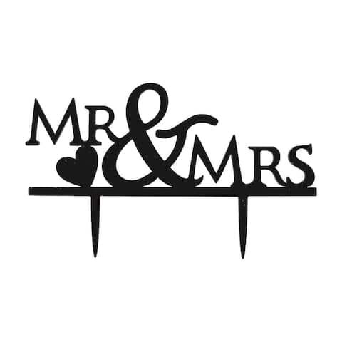 Wedding Birthday Acrylic Handicraft MR and MRS Decor Cupcake Cake Topper Black