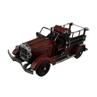 Red Antique Style Fire Engine 15 in. Vintage Finish Metal Fire Truck Sculpture