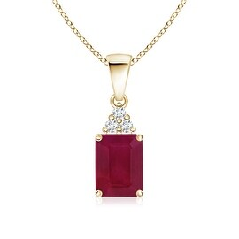 Prong Set Emerald Cut Ruby Pendant with Diamond in 14K Yellow Gold (6X4mm Ruby)