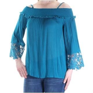 Womens Teal Kimono Sleeve Square Neck Top Size S