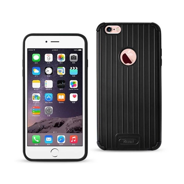 REIKO IPHONE 6 PLUS/ 6S PLUS RUGGED METAL TEXTURE HYBRID CASE WITH RIDGED BACK IN BLACK