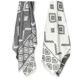 Aztec Tribal Bohemian Turkish Kilim Throw Towel, Black