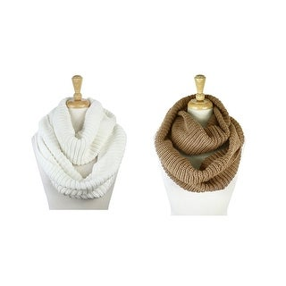 2 Pack of Winter Knit Infinity Scarves