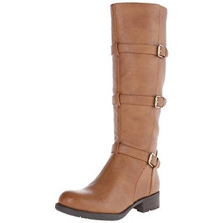 Franco Sarto Womens Petite Riding Boots Faux Leather Buckle