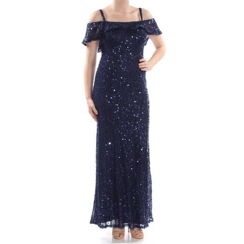 NIGHTWAY Womens Navy Short Sleeve Maxi Formal Dress Size 8