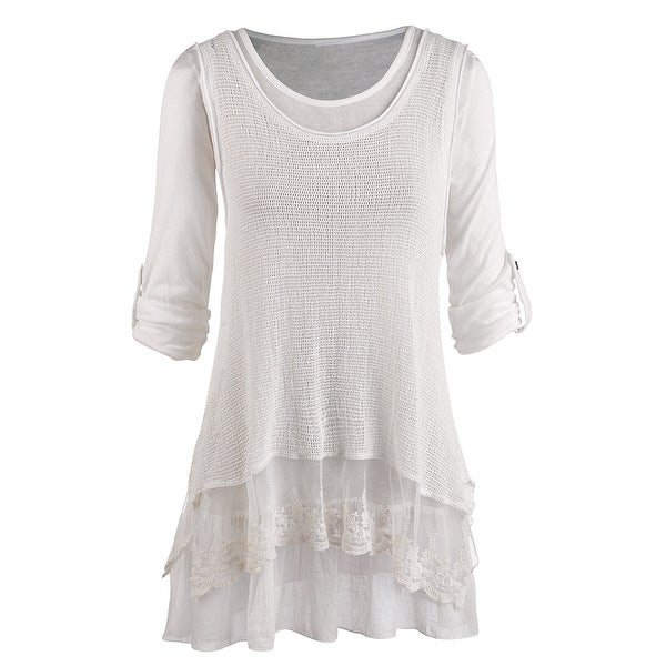 Women's Tunic Top - Roll Tab Sleeve Blouse and Gauzy White Tank Set