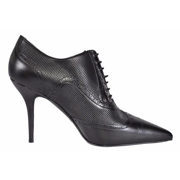 76f61e1473e7 Shop Gucci 388945 Black Leather Brogue Stiletto Ankle Booties Shoes ...