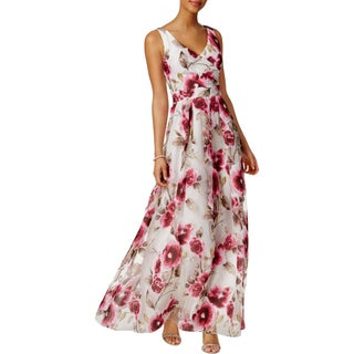Betsy & Adam Womens Petites Evening Dress Floral Wrap Front