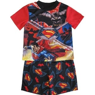 Marvel Little Boys Black Red Batman Vs. Superman Shorts 2 Pc Sleepwear Set 4-6