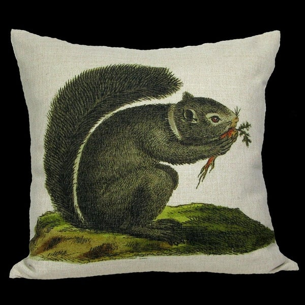 Decorative Grey and Black Squirrel Enjoying His Carrot Throw Pillow Cover 18""