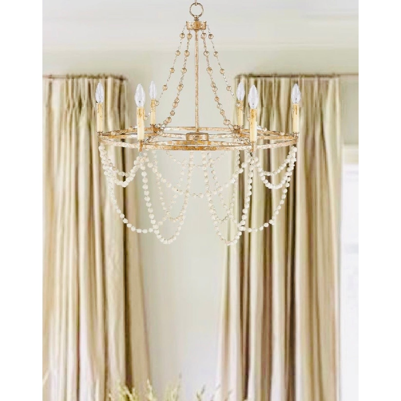 6 Light Wagon Wheel Chandelier In Gold And Silver Leaf Overstock 31794368