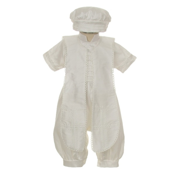 955cc615c9df Shop Rain Kids Baby Boys Ivory Silk Button Stole Hat Baptism Romper ...