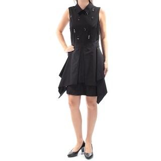RACHEL ROY $139 Womens New 2416 Black Rhinestone Sleeveless Sheath Dress 6 B+B