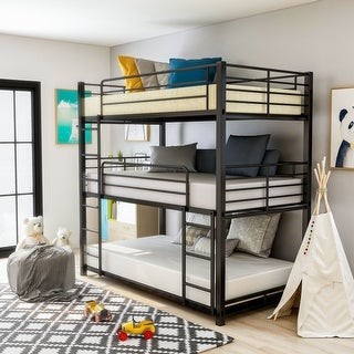 Furniture of America Cody Contemporary Black Triple Decker Bunk Bed